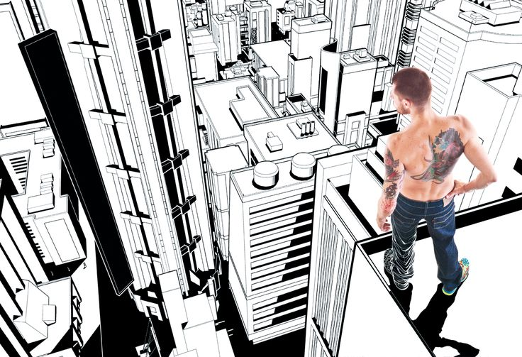 Inked Magazine Brasil Background illustrations and interactions with photos for a fashion editorial, inspired by Parkour.