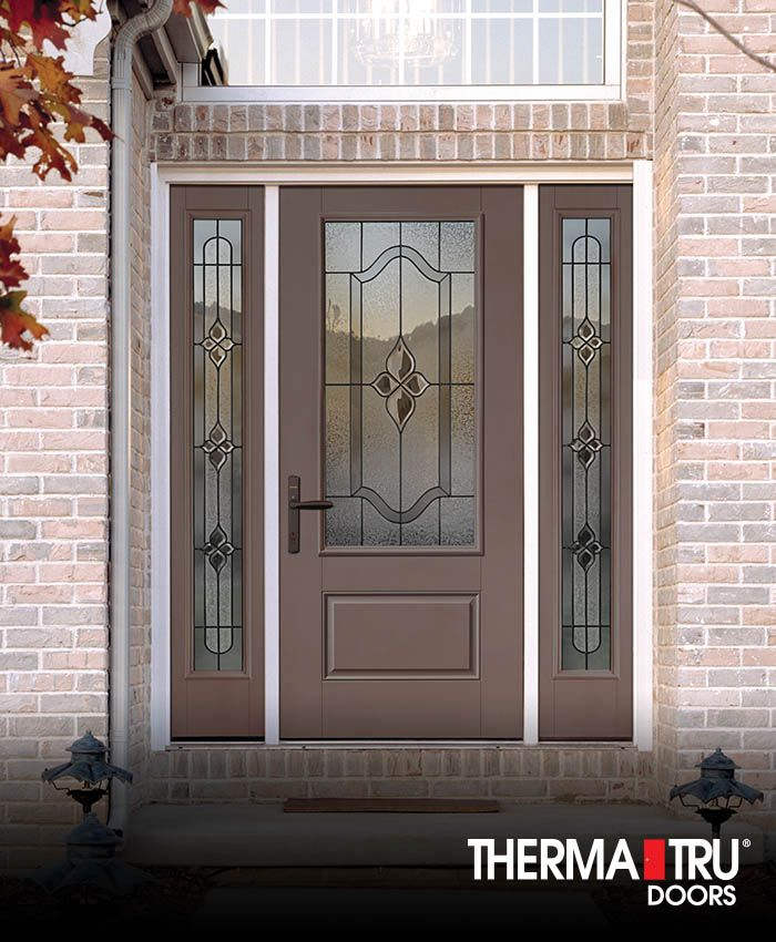 Smooth-Star fiberglass door painted Mulberry Silk with Concorde decorative glass.