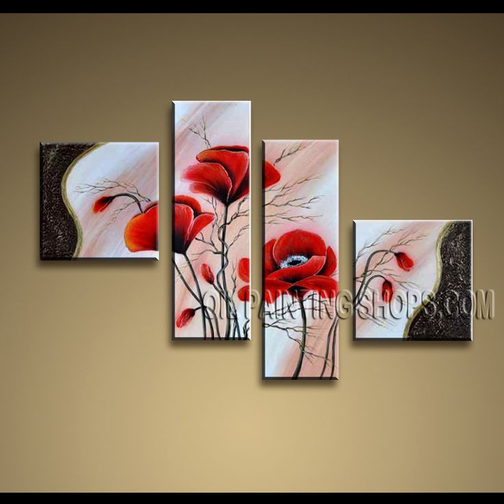 Large Contemporary Wall Art Oil Painting On Canvas Panels Gallery Stretched Poppy Flowers. This 4 panels canvas wall art is hand painted by Anmi.Z, instock - $138. To see more, visit OilPaintingShops.com