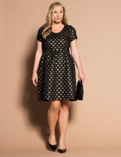 Metallic polka dot print dress by Carmakoma.