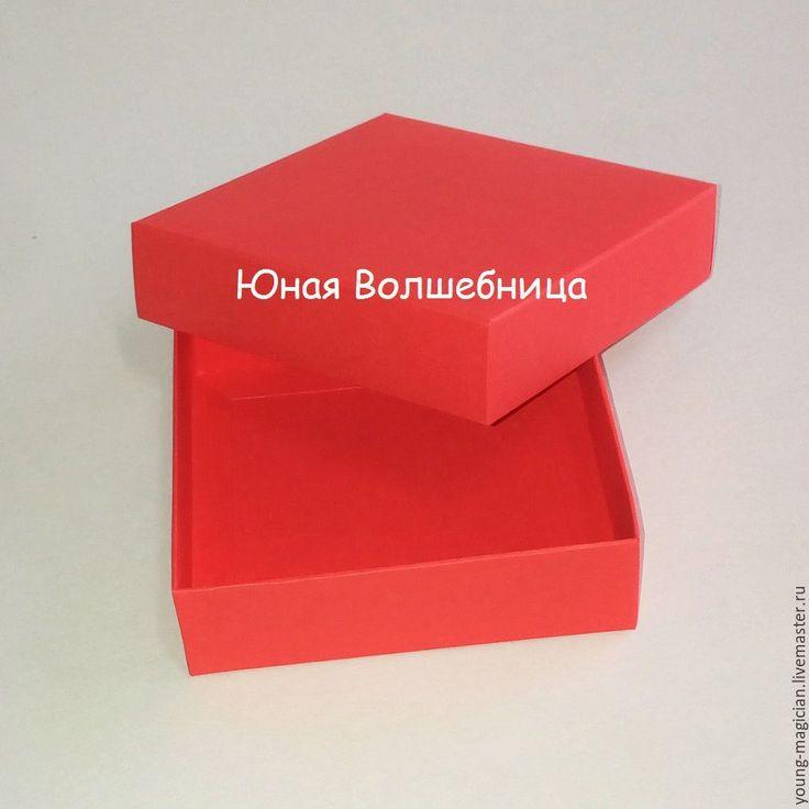 Купить Коробка 10х10х3 красная - оригинальная упаковка для украшений - ярко-красный, красный, упаковка для украшений