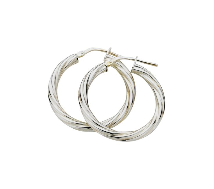 Sterling Silver Twist Hoop Earrings 3/20mm, Earrings, SJ1210