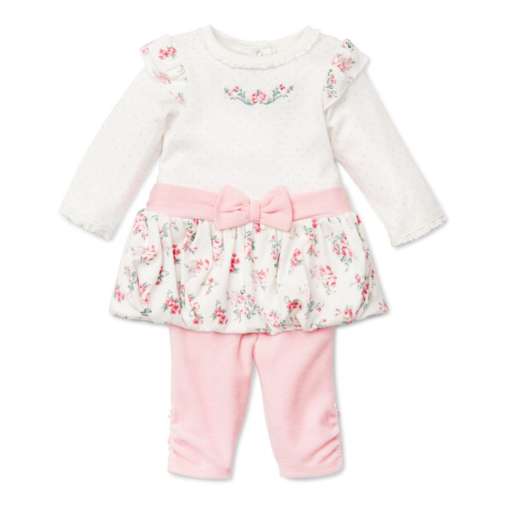 Baby Dress with matching legging - Chateau Rose Bow Dress with Legging