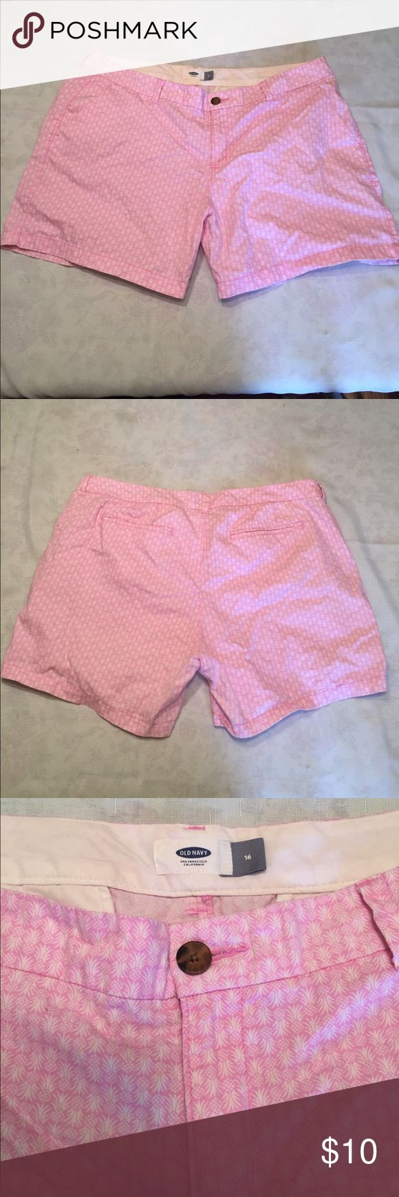 Women's pink pineapple patterned chino shorts Women's size 16 pink pineapple patterned shorts. Super cute and comfortable! Mid-length, but can be rolled. Lightly worn. Perfect for the Summer or if you need to add a little color to your outfit! Old Navy Shorts