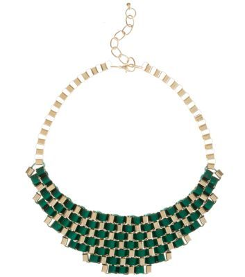 Green and Gold Woven Ribbon Chain Necklace