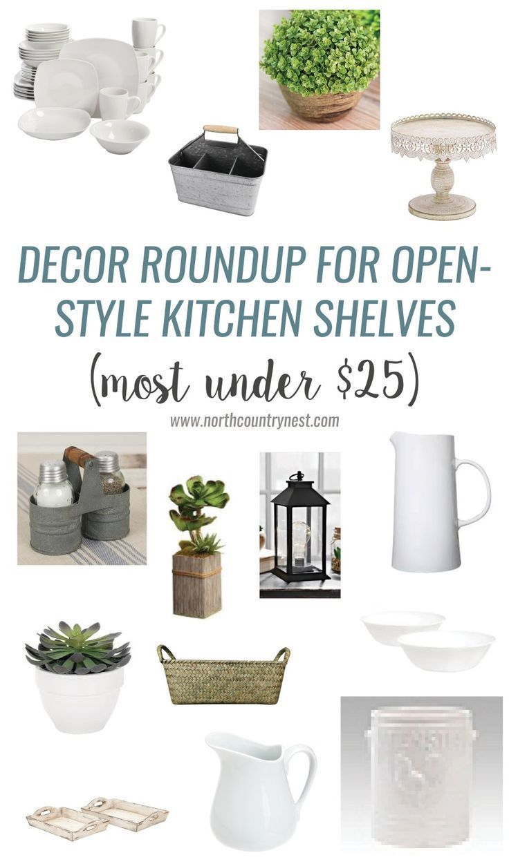 farmhouse / kitchen / open shelving / open shelf / white pitcher / industrial / decor / home decor