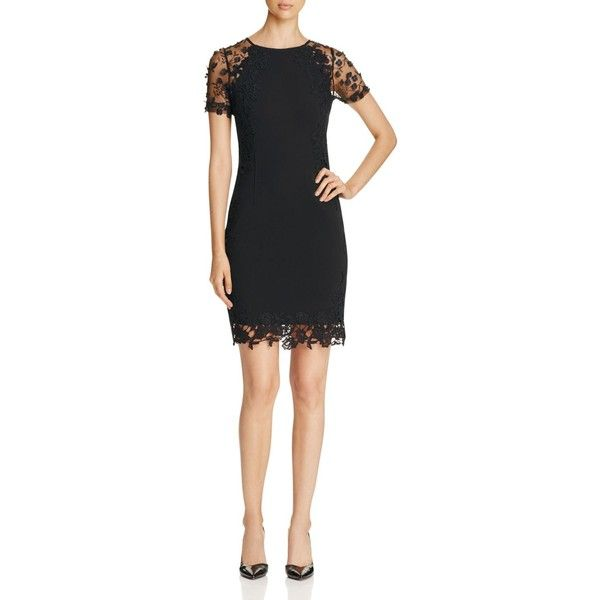 Elie Tahari Yadira Floral Lace Panel Sheath Dress ($535) ❤ liked on Polyvore featuring dresses, black, long-sleeve floral dresses, little black party dress, floral print dress, night out dresses and going out dresses