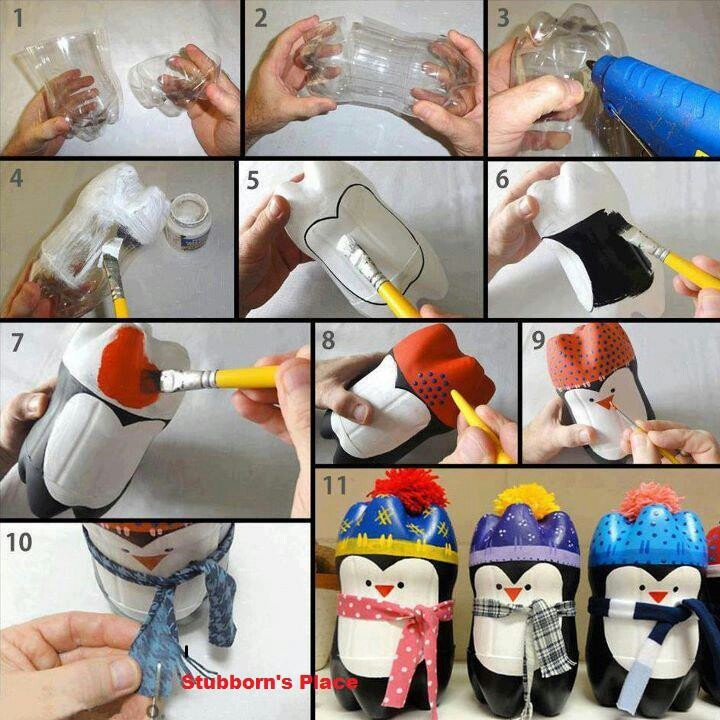 Cute lil penguin craft from plastic soda bottles