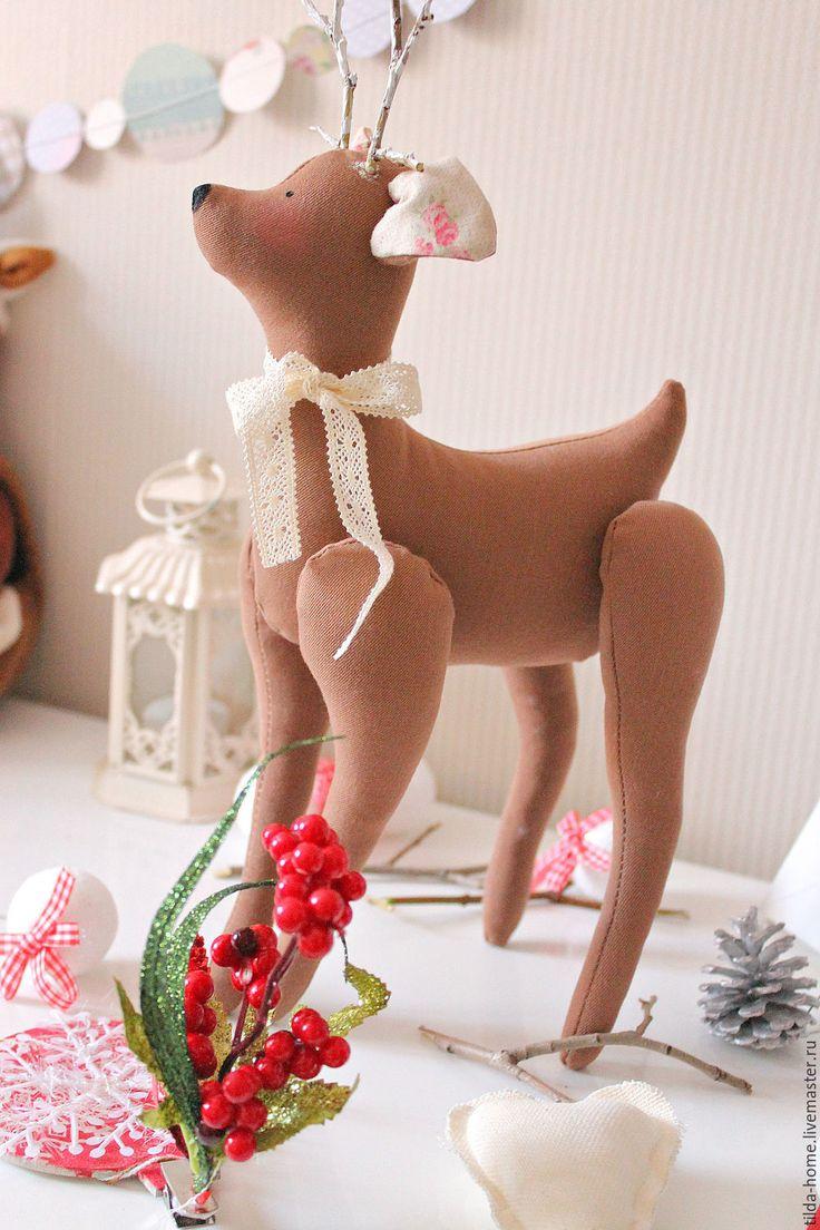 Tilda Deer / Тильда олень, оленёнок Тильда, текстильный оленёнок, новогодний подаро - бежевый, подарок, тильда