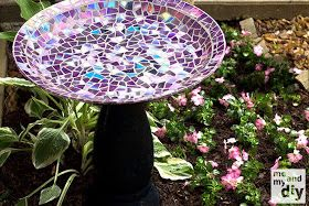 DIY Mosaic Tile Birdbath With Recycled DVDs