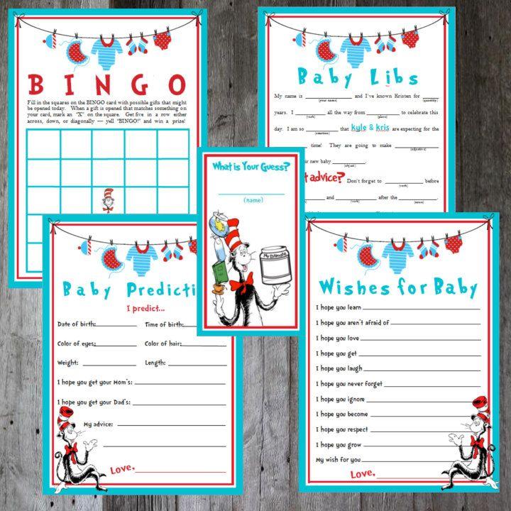 Dr. Seuss   Baby Shower Game Bundle   DIY Printable