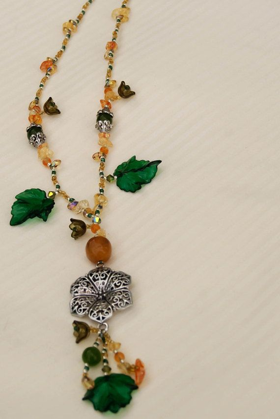 Green Orange & Gold Autumn Beaded Necklace and by HumdrumAuguries