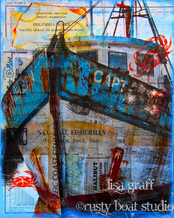 16x20 Canvas Print -Fishing Boat 'Captain Nielsen' Gift, Him, Dad, Blue Rust, Orange Crab, Oregon Coast, Art Mixed Media, Beach House Decor on Etsy, $190.00