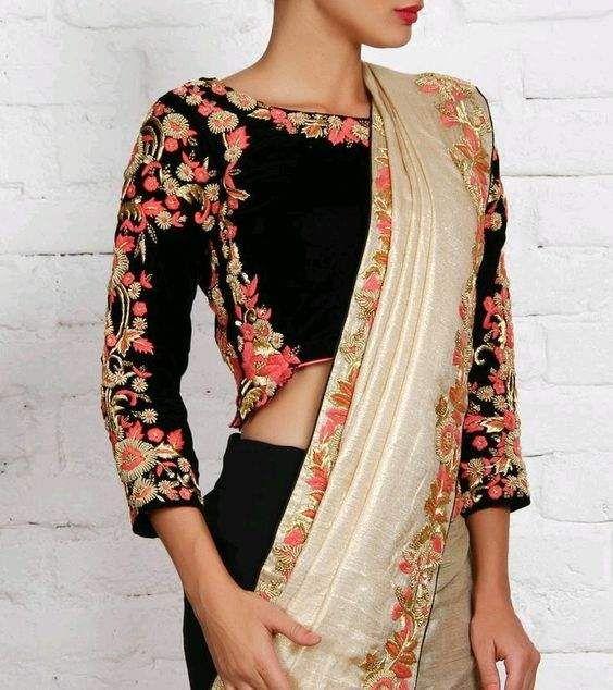 by RitaS-Floral saree blouse