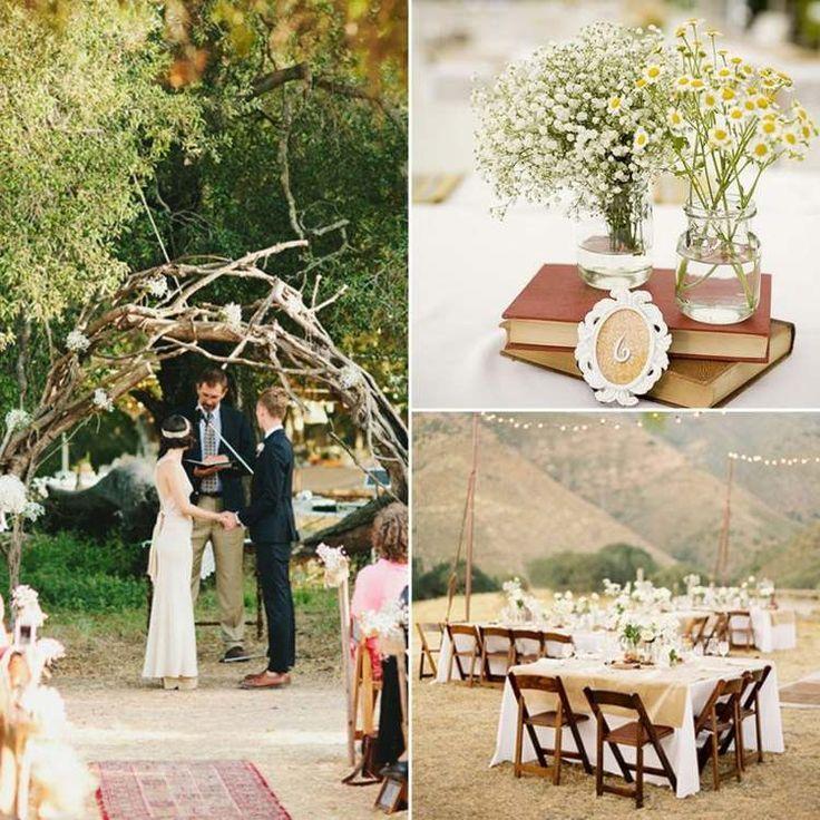 déco mariage champêtre - autel de mariage en branchettes, bouquets de gypsophiles et marguerites et déco de table blanche et romantique