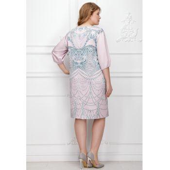 Платье из атласа с принтом и стразами, цвет темно-лиловый