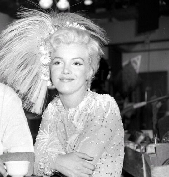 """Marilyn on the set of """"There's No Business Like Show Business"""", 1954."""