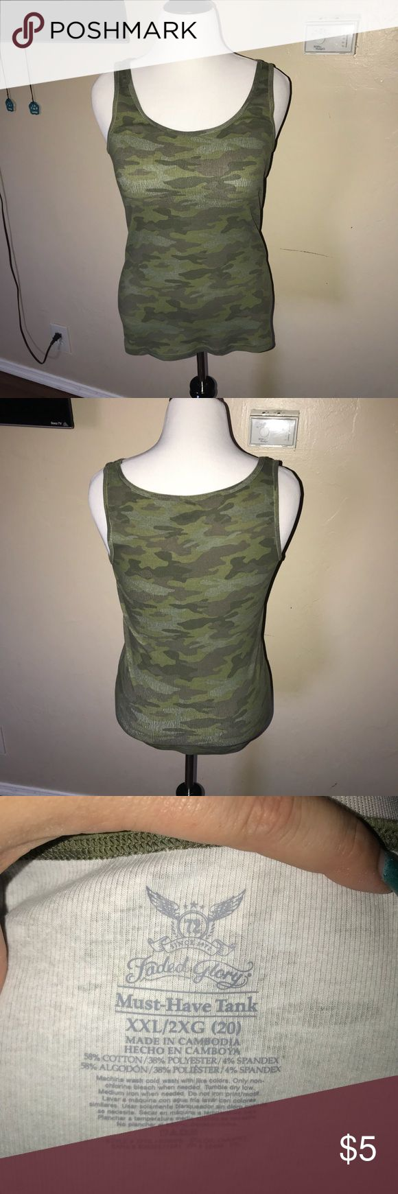 Women's camo tank top Women's ribbed camo tank top Faded Glory Tops Tank Tops