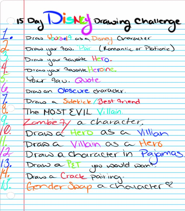 15 Day Disney Drawing Challenge by TheWitchAtsu