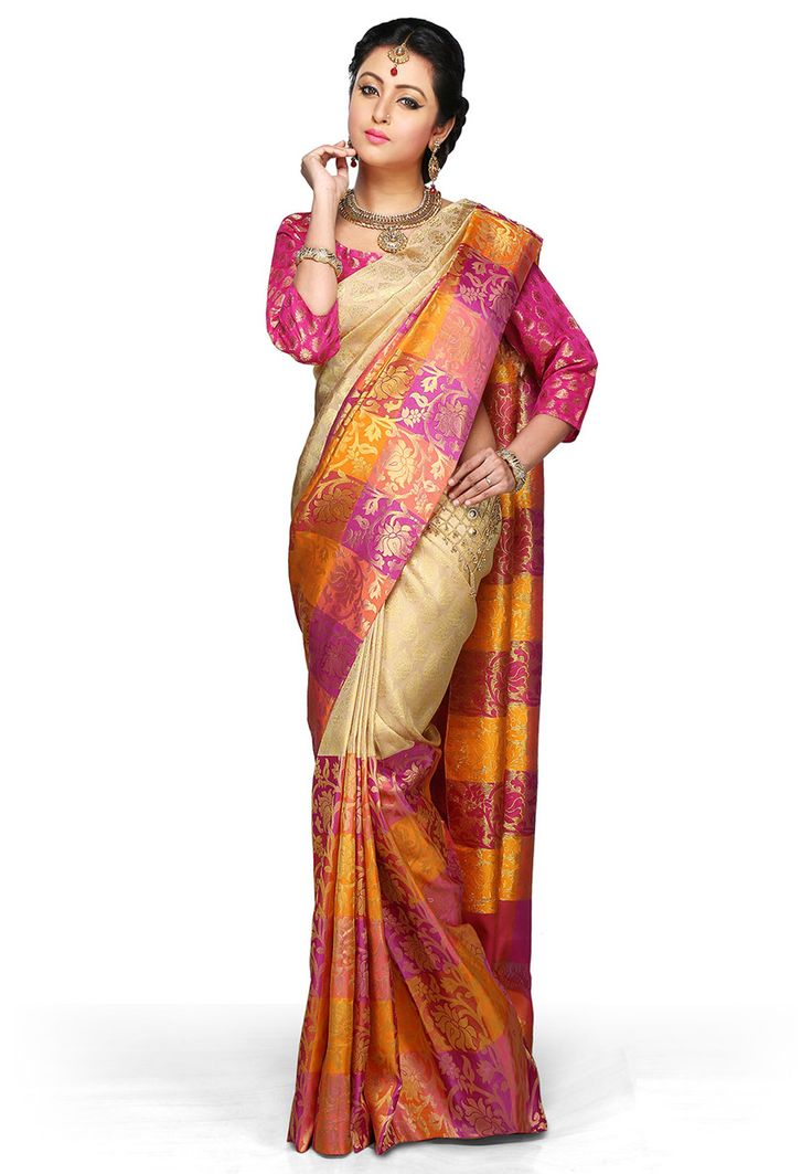 Beige and Fuchsia Pure Handloom Kanchipuram Silk Saree with Blouse: SZA2049