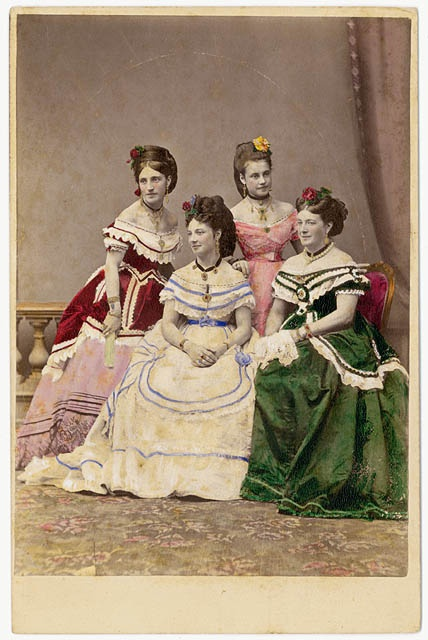 An artfully hand tinted photograph of the Carandini Ladies, who were members of one of Austria's leading opera performing families (c. 1875). #Victorian #portrait #vintage #1800s #19th_century #opera #singers #women #dress #beautiful