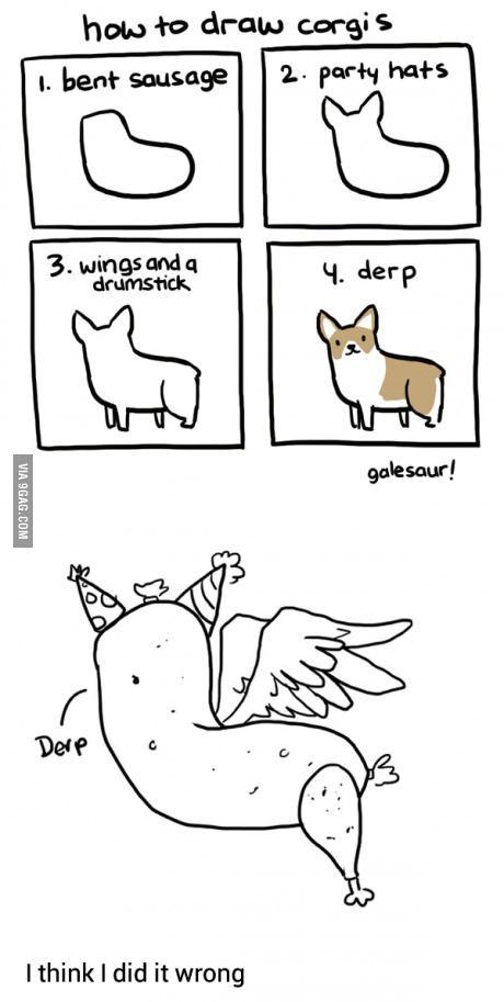 How to draw corgis - 9GAG