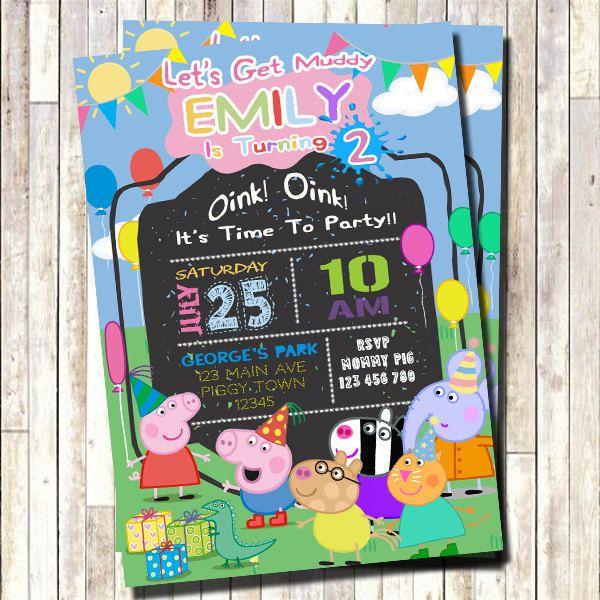 Peppa Pig Invitation, Peppa Invite, Peppa Pig Invite, Peppa Invitation, 1st Birthday Invitation, 2nd Birthday, 3rd, 4th, 5th, 6th by 3lileagles on Etsy