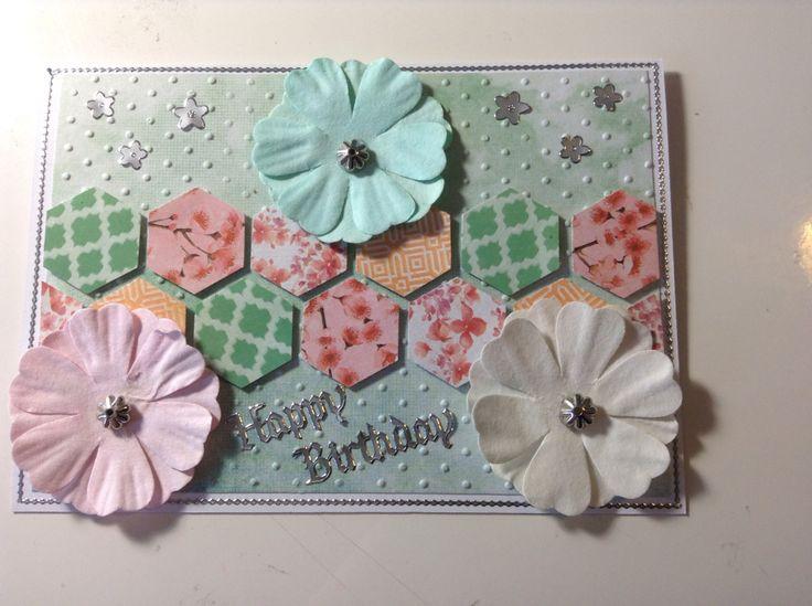Birthday card using hexagonal punch & Kaisercraft Cherry Blossom papers