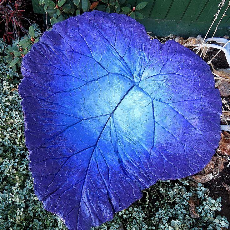 Concrete Leaf Birdbath , Blue And Purple Colored Bird Bath, Yard Art, Patio  Decor