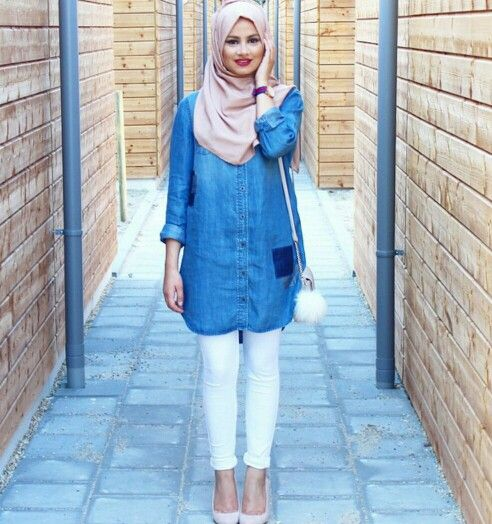 As casual as a denim shirt, white jeans and a nude hijab
