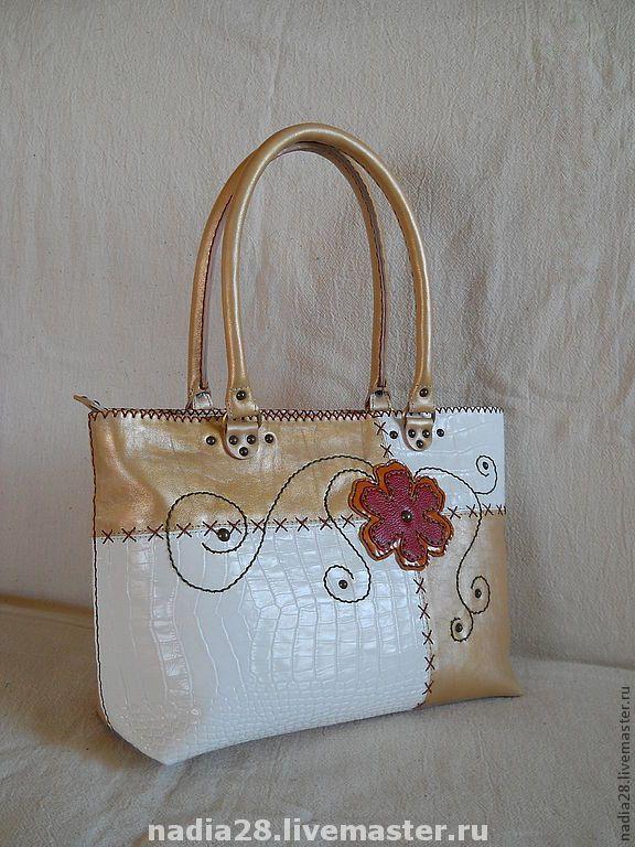 Купить Летняя сумка натуральная кожа с цветком и вышивкой - сумка из кожи, Сумка с вышивкой