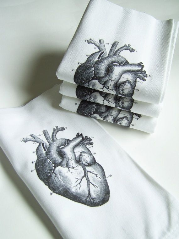 Love My (Anatomical) Heart Printed Cloth Hand Towel Napkins - Set of FOUR  Ask a Question $28.0