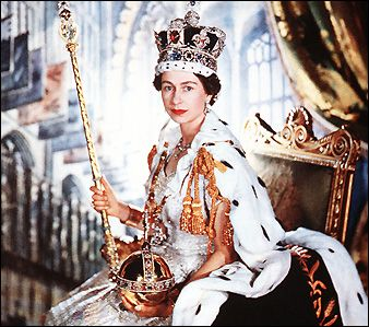 The Queen holds the Orb and Sceptre used at her Coronation, 2 June 1953. Great-Britain.