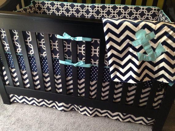 Custom Crib Bedding Nautical Navy Or Any Fabric By