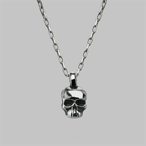 Small Skull Necklace in Solid Silver - Womens & Men's Pendant & Charm Skull Necklaces - Quality Skull Jewellery - Stephen Einhorn London