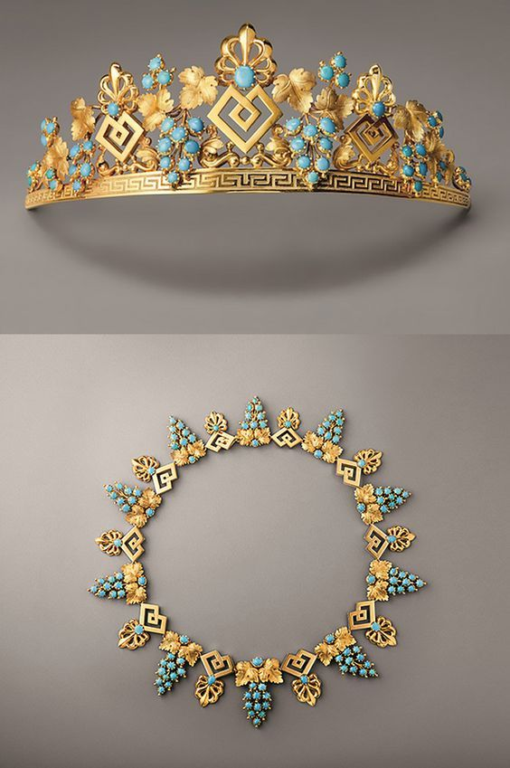 -This gold and turquoise tiara and necklace, c.1825, illustrates the stylistic transition of the 1820s, incorporating the palmettes and meanders that had remained in vogue after the French Empire, enmeshed with vine branches that announced the naturalism of the Romantic style