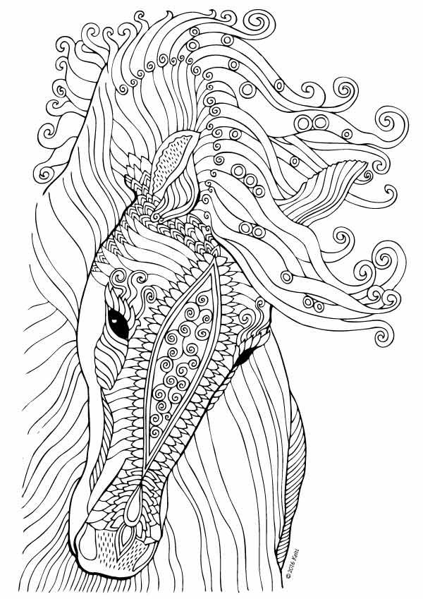 Horse coloring page illustration by keiti