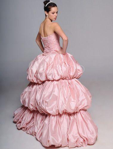 Свадебное платье бальное без бретелек со шлейфом из тафты с бусинами -No.4