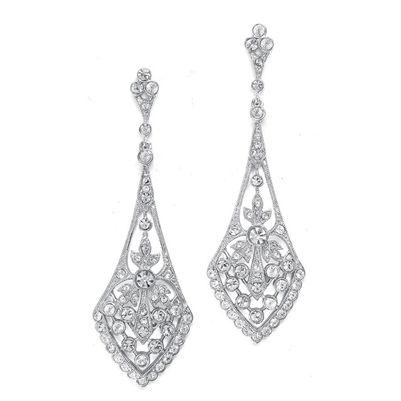 Vintage Art Deco Cubic Zirconia Bridal Earrings in Silver