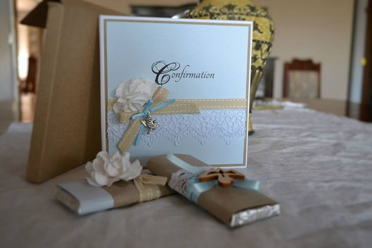 ELISE Hard cover invite in sky blue and natural colours with box envelope Chocolate bars embellished to match invite