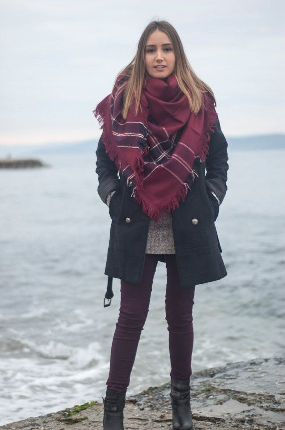Hey, I found this really awesome Etsy listing at https://www.etsy.com/listing/218317469/burgundy-blanket-scarf-plaid-scarf