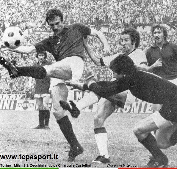 Torino Football Club - A.C. Milan 2-2 Zecchini anticipa Luciano Chiarugi e Castellini ... ⚽️ C'ero anch'io ... http://www.tepasport.it/  Made in Italy dal 1952