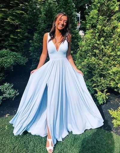 Light Blue V Neck Long Prom Dress, Side Slit Bridesmaid Dress | GirlsProm| Prom …