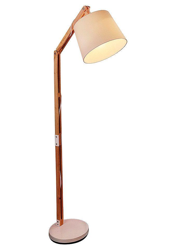 Stehlampe (1flg.) für 179,99€. Moderne Stehleuchte, Aus Holz und Textil für ein traumhaftes Ambiente, Höhe ca. 163 cm, Schirm- Ø ca. 30 cm bei OTTO