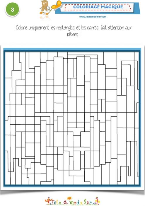 Shapes Magic Coloring Page:  Rectangles - Color all the rectangles