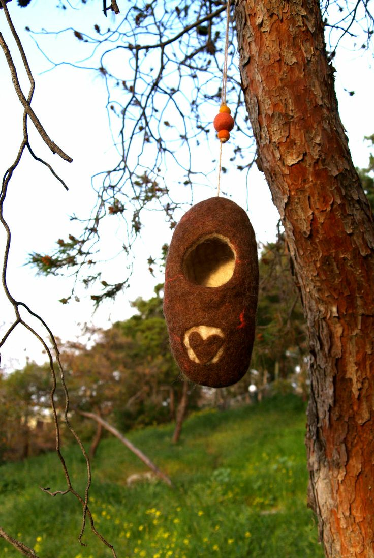 Felted tree nest for little birds by Philosopher's Joke.