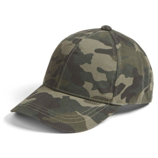 Women's August Hat Camo Print Baseball Cap ($32) ❤ liked on Polyvore featuring accessories, hats, green, adjustable baseball caps, green baseball cap, camo hat, ball cap and camo baseball cap