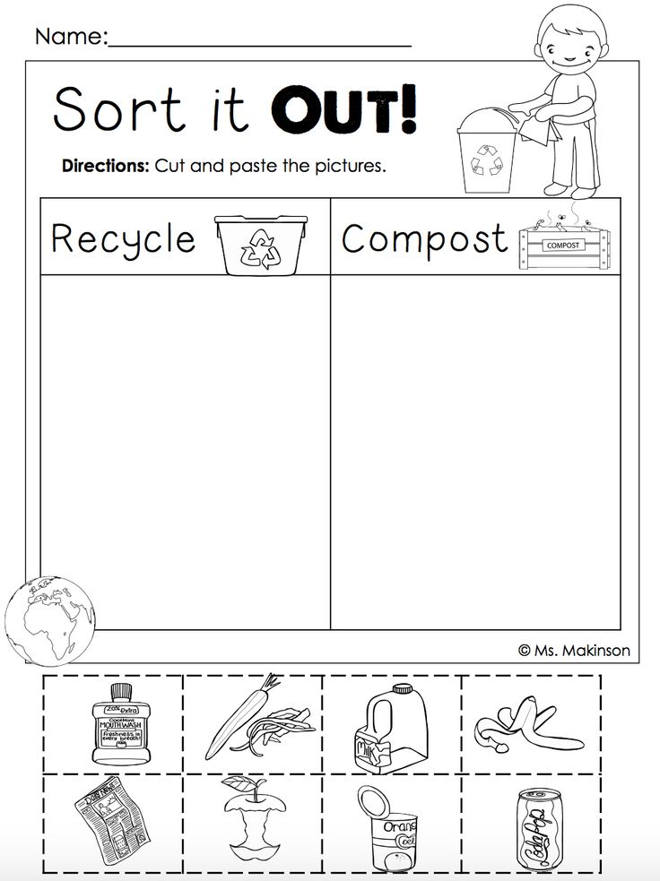 free earth day printables recycling and compost cut and paste first grade pinterest. Black Bedroom Furniture Sets. Home Design Ideas
