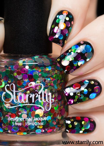 A fun mixture of colorful dots in a clear base.