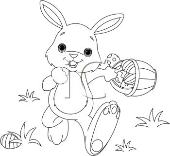 Illustration Of Coloring Page Easter Bunny Hiding Eggs Vector Art Clipart And Stock Vectors